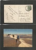 LIBIA. 1918 (13 April) Italian PO. Tripoli - Italy, Monteleone Calabro, Catanzaro. Fkd Ppc. 5c Green Ovptd Cds. Fine. - Libia