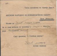 Document DO000165 - Yugoslavia Croatia Baranja Baranya Beli Manastir Travel Permit 1946 - Documents Historiques