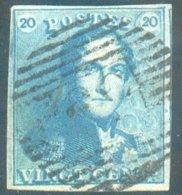 N°2 - Epaulette 20 Centimes Bleue, Marges Maxima Et Voisin, Obl. Finement Apposée.  Superbe -  14554 - 1849 Epaulettes