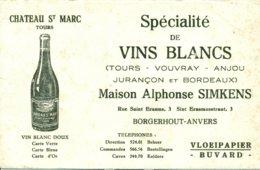 Vloeipapier - Buvard - Vin Blanc - Château St Marc - Maison Alphonse Simkens Borgerhout - Anvers - Liqueur & Bière