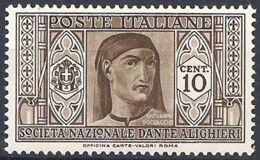 "Italia, 1932 Società  ""DAnte Alighieri""  10c Bruno # Michel 373 - Scott 268 - Sassone 303 - NUOVO* MLH - 1900-44 Vittorio Emanuele III"