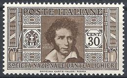 "Italia, 1932 Società  ""DAnte Alighieri""  30c Bruno # Michel 377 - Scott 272 - Sassone 307 - NUOVO* MLH - 1900-44 Vittorio Emanuele III"