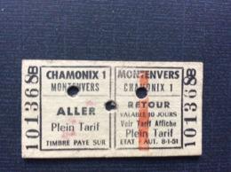 TICKET TRANSPORT CHAMONIX Aller-retour  CHAMONIX1 MONTENVERS  La Mer De Glace  *LA VERTE  *LE DRU  *LES GRANDES JORASSES - Chemins De Fer