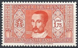 "Italia, 1932 Società  ""DAnte Alighieri""  £1.75c Arancio # Michel 381 - Scott 276 - Sassone 311 - NUOVO* MLH - 1900-44 Vittorio Emanuele III"