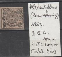 TIMBRE D ALLEMAGNE OBLITERE ANCIENS ETATS (BRAUNSCHWEIG)1853  Nr 8 OBLITERE-  COTE 100 € - Brunswick