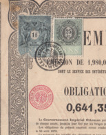 OBLIGATION AU PORTEUR DE 400 FRANC 1870 Ausgestellt Constantinopel 1 FL (Gulden) + 25 Kreuzer Stempelmarke, Dokument ... - Hist. Wertpapiere - Nonvaleurs