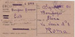 1945 ITALIAN EVACUER CAMP KENYA COLONY Lineare Su Cartolina Da Civile Italiano Prigioniero In Kenya - 1900-44 Vittorio Emanuele III