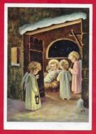 CARTOLINA VG ITALIA - Gesù Bambino Con Angioletti - CROMO MILANO Rubens 3024 - 10 X 15 - 1960 RIVIGNANO - Natale