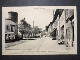 69 - Grigny - CPA Toilée - La Place  - J. Cellard , Lyon - Collection Brachet - 1939 -  TBE - - Grigny