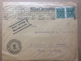 GERMANY 1922 Cover Bremen To Rapperswyl Switzerland - `Felix Schmiedchen` Cachet - Alemania