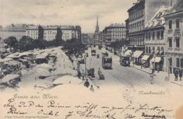 Wien * Naschmarkt, Strassenbahn, Leute * Österreich * AK633 - Vienna Center