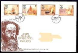 Isle Of Man Yv 326/9 Tableaux De John Miller Nicholson 1987 . FDC Adressed-circulé - Man (Ile De)