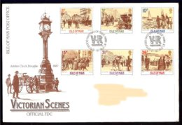 Isle Of Man Yv 320/25  Scènes Historiques De L'époque Victorienne 1987 . FDC Adressed-circulé - Man (Ile De)