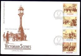 Isle Of Man Yv 320/23 Se Tenant,  Scènes Historiques De L'époque Victorienne 1987 . FDC - Man (Ile De)