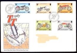 Isle Of Man Yv 334/38, Course Motocyclettes,Tourist Trophy 1987 . FDC Adressed-circulé - Man (Ile De)