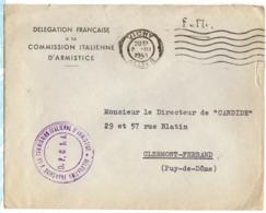 1943 - LSC En FM Entete DELEGATION FRANCAISE à La COMMISSION ITALIENNE D'ARMISTICE - Marcophilie (Lettres)