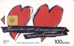 Argentine   Télécarte De 100 Pulsos   Two Hearts       Gem Plus  De 05/1998  Tirage 300 000  Ex. - Argentinië