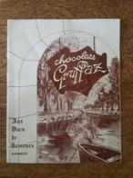 """Annecy 1956-57 - Prix Courant - Chocolats Gruffax """"Aux Ducs De Nemours"""" - Chardons Des Alpes, Les Chataignes D'Annecy - Food"""