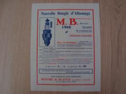 DOCUMENT PUBLICITAIRE BOUGIE D'ALLUMAGE M.B 1908 MESTRE & BLATGE - Automobile
