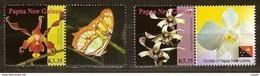 Papouasie Papua New Guinea 2007 Yvert 1149-1150 *** MNH Cote 8,75 Euro Flore Orchidées Vignette Papillon Vlinder - Papua-Neuguinea