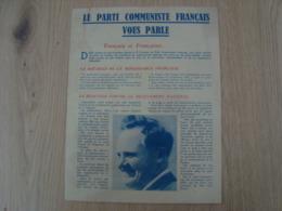 TRACT LE PARTI COMMUNISTE FRANCAIS VOUS PARLE - Documentos Históricos