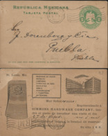J) 1903 MEXICO, MEXICAN REPUBLIC, EAGLE 2 CENTS, POSTAL STATIONARY, POSTCARD, CIRCULATED COVER, FROM MEXICO TO PUEBLA - Mexico