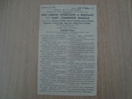 LISTE DE VOTE LISTE D'UNION REPUBLICAINE ET RESISTANTE PARTI COMMUNISTE FRANCAIS 1946 - Historische Documenten