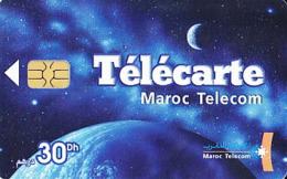 Maroc   Télécarte De 30 Dh     Terre, Lune Et Voie Lactée   De 01/04 - Maroc