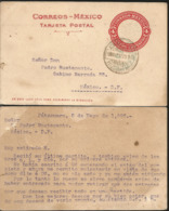 J) 1923 MEXICO, 4 CENTS RED, AZTEC CALENDAR, POSTCARD, POSTAL STATIONARY, CIRCULATED COVER, FROMR PATZCUARO TO MEXICO - Mexico