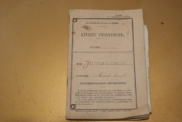 LIVRET MILITAIRE INDIVIDUEL - Guerre , Aisne - Documenten