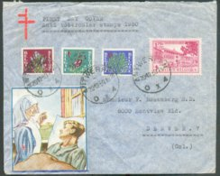 N°834-836/838 (SANATORIUM) Obl. Sc ANTWERPEN X Sur Lettre Avec Vignette Antituberculeux Du 20-12-1950 (1er Jour) Vers De - Lettres & Documents