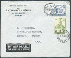 N°873/874 (CHATEAUX) Obl. Sc BRUXELLES 1 Sur LettrePar Avion Du 21-12-1951 Vers Denver (USA).  COB. 52,50 Euros - 14564 - Lettres & Documents