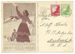 DR Ganzsache P246 Kraft Durch Freude Mit Zusatzfrankatur 1938 In Die USA - Germany