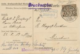 """BAYERN 1917, Dienst 3 Pf EF Auf Kab.-Postkarte K2 """"MÜNCHEN Außerdem Blauer RA2 """"O.P.D. München / 29.SEP.1917"""" Und Viol. - Bayern (Baviera)"""
