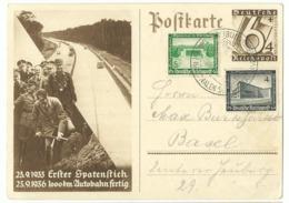 DR Ganzsache P263 Reichsautobahn Mit Zusatzfrankatur 1938 In Die Schweiz - Germany