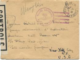 GUERRE 1939-45 : MARINE NATIONALE - POSTE NAVALE. Censure. CONCARNEAU 6 Août 45 - Marcophilie (Lettres)