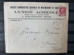 1942 WALINCOURT (NORD) LETTRE UNION AGRICOLE TIMBRE PETAIN 1F50 CACHET OBLITERATION - Marcofilie (Brieven)