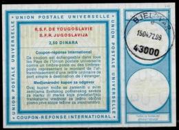 CROATIE / CROATIA Vi19 2,50 DINARA International Reply Coupon Reponse IAS IRC Antwortschein O BJELOVAR 15.4.72 - Croazia