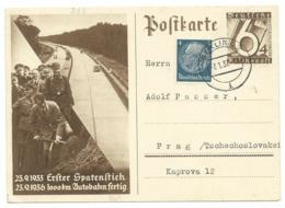 DR Ganzsache P263 Reichsautobahn Mit Zusatzfrankatur Nach Prag 1937 - Germany
