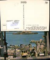 629489,Cable Car On San Francisco Hill Alcatraz And San Francisco Bay California - Ansichtskarten
