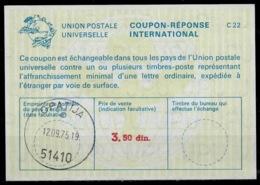 CROATIE / CROATIA La22B 3.50 Din. International Reply Coupon Reponse IAS IRC Antwortschein O OPATIJA 12.9.75 - Croazia