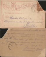 J) 1896 MEXICO, MEXICAN POSTAL SERVICE, EAGLE, CARRIER ON LETTER, POSTCARD, POSTAL STATIONARY, CIRCULATED COVER, FROM ME - Mexico