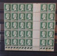 France : Pasteur 10c Vert En Bloc De 30 - Taches De Rouille Au Dos - 1922-26 Pasteur