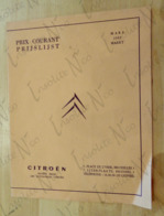 Tarif Des Prix Courants De Mars 1963 Pour Les Voitures De Tourisme Et Les Véhicules Utilitaires Citroën - Publicités