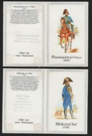 Lot De 2 Calendriers De Poche Militaria Année 1989 / Médecin Chef 1799 , Pharmatien De 1re Classe à Cheval 1809 - Calendriers