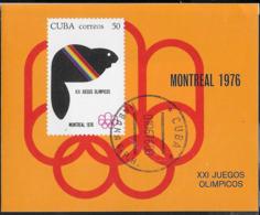 CUBA -  1976 - GIOCHI OLIMPICI ESTIVI - FOGLIETTO USATO (YVERT BF 46 - MICHEL  BL 47) - Estate 1976: Montreal