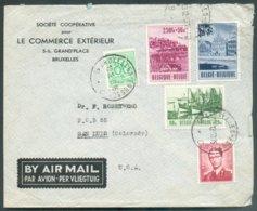 N°857-918-921/922-925 Obl; Sc BRUXELLES Sur Lettre Par Avion Du 19-12-53 Vers San Luis (USA) - 14566 COB 45 Euros - Belgium