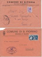 7 Enveloppes Lettre Italie BIVONA  - SAN FIORANO - VAIA E LATINA - BITONTO - BELMONTE PICENO - ACIREALE - BARRAFRANCA - 1946-.. République