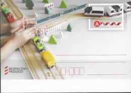 POLAND, 2019,MINT POSTAL STATIONERY, PREPAID POSTCARD, ROAD SAFETY, TRAINS, RAILWAY, TOYS - Trains