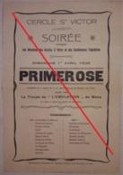 """Affiche Programme A4  Pièce De Théâtre  Cercle Saint Victor à Dour 1928  """"Primerose"""" (Imprimerie Capouillez Thulliez) - Programmes"""